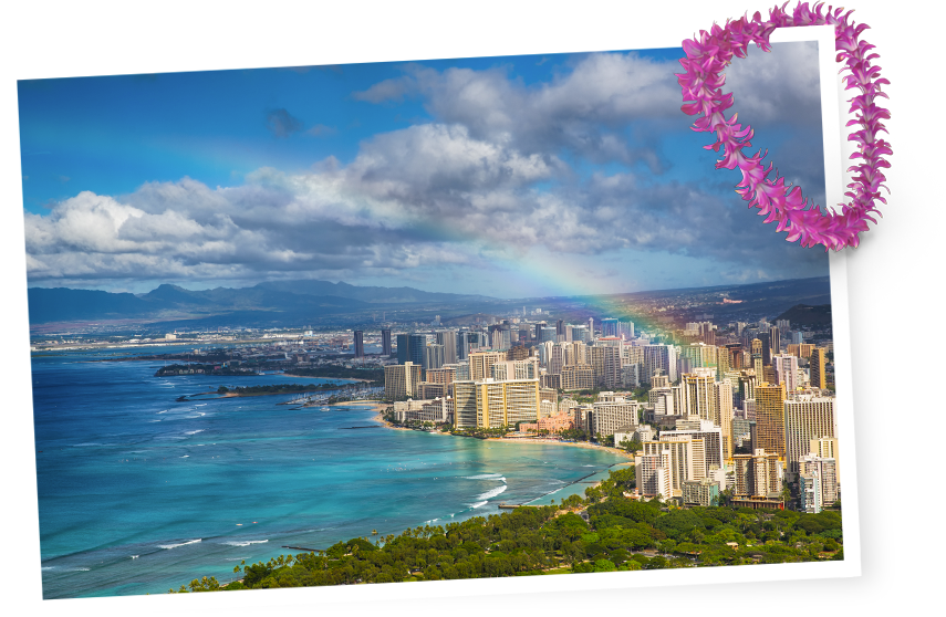 Rainbow over Waikiki in Honolulu, Hawaii, USA